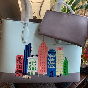 Authent.Kate Spade leather rock Center tote/pouch
